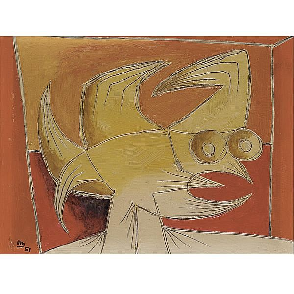 m - Desmond Morris , b. 1928 read head oil on board