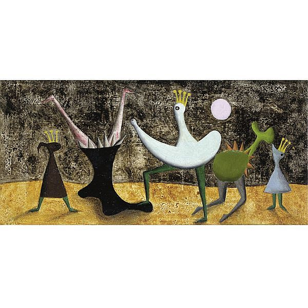 m - Desmond Morris , b. 1928 the playground of power oil on canvas