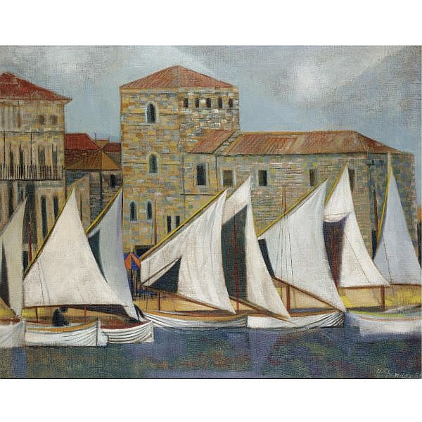 Humphrey Spender , 1910-2005 sails at rab oil on canvas