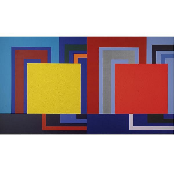 Peter Halley , b. 1953 Logic Gate Acrylic, Day-Glo acrylic, and Roll-A-Tex on 4 attached canvases