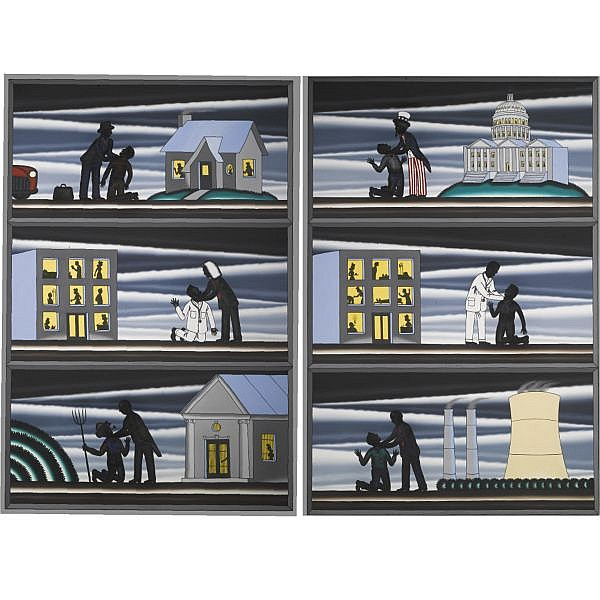 Roger Brown , b. 1941 Decline and Fall of the American Empire oil on canvas, in 2 parts