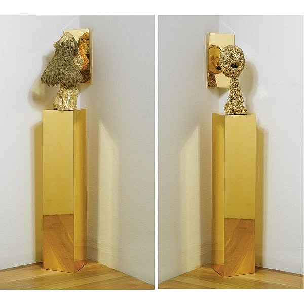 Terence Koh , b. 1977 Untitled (Man/ Animal) plaster, gold glitter, gold leaf, baboon head, bees, wood, 2 mirrors and 2 plinths