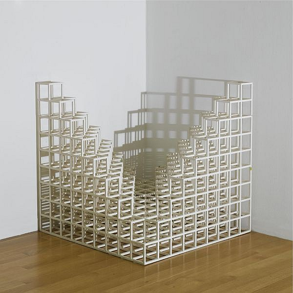 Sol Lewitt , 1928-2007 Corner Piece #4   white painted wood