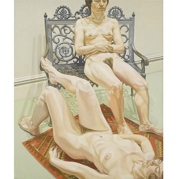 Philip Pearlstein , b. 1924 Two Female Models with Cast Iron Bench   oil on canvas