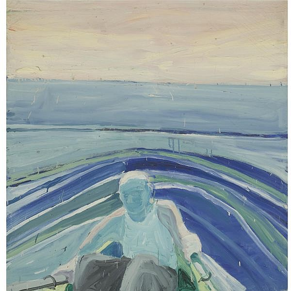 Paul Wonner , b. 1920 Man in a Rowboat oil on canvas