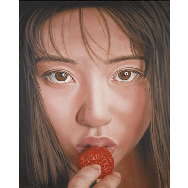 Richard Phillips , b. 1963 Strawberry Eater oil on canvas