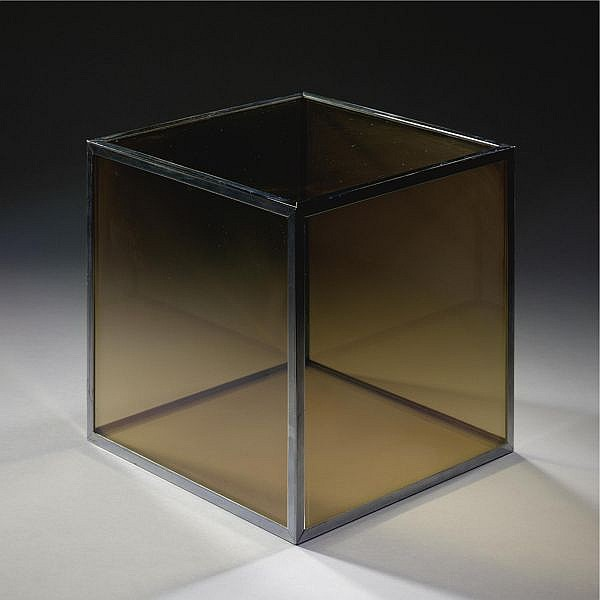 Larry Bell , b. 1939 Glass Cube   glass, vaporized gold with chrome binding