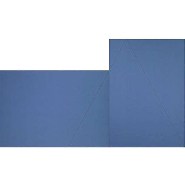 Robert Mangold , b. 1937 A Triangle within Two Rectangles (Blue)   acrylic and graphite on canvas, in 2 parts