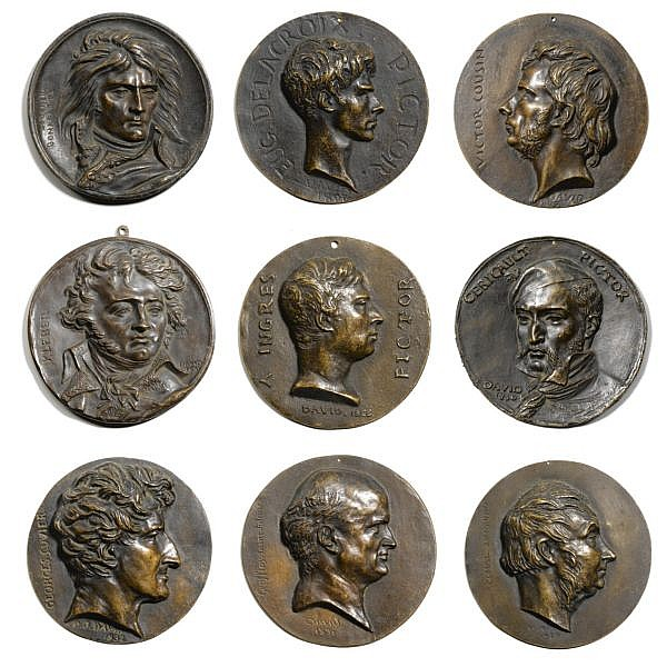 - David D'Angers , French 1788-1856 a collection of 16 portrait medallions of famous men   bronze, varied brown patinas