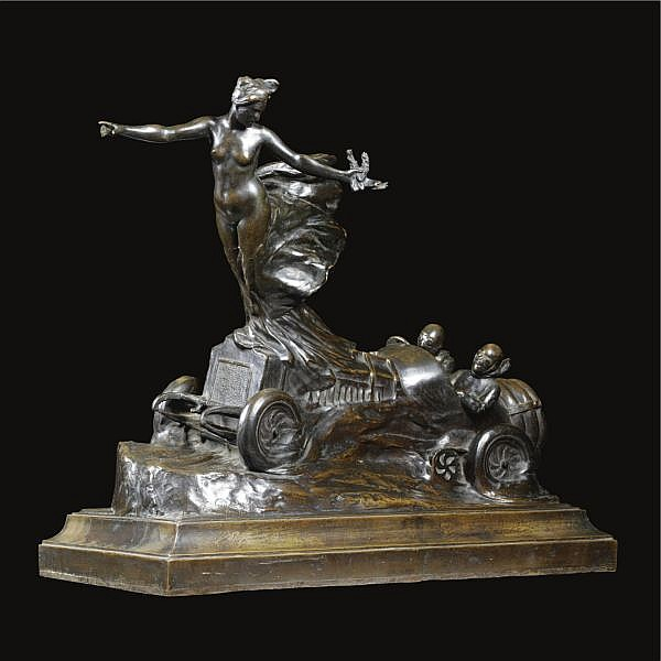 - Emile Gaudissard , French 1872-1956 A grand prix racing car (an allegory of victory and progress) bronze, dark brown patina modulated with green