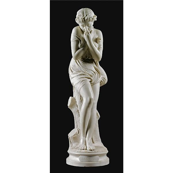 Jean Jules Cambos , French 1828-1917 la cigale white marble