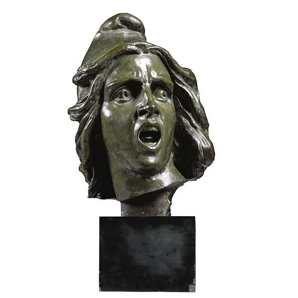 François Rude , French 1784-1855   La Marseillaise (Head of the Genius of Liberty)   bronze, green patina, on a black granite base