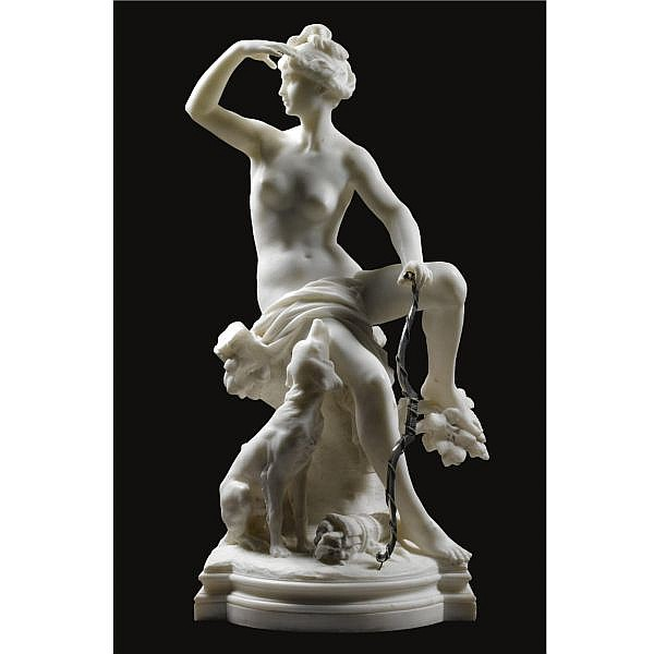 - Luca Madrassi , French 1848-1919 Diana with her Hound white marble, with metal bow