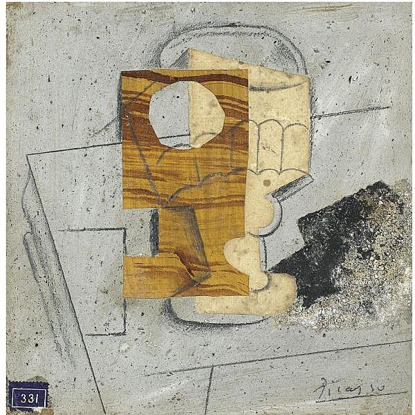 Pablo Picasso , 1881-1973 VERRE SUR UNE TABLE oil, papier collé, crayon and sand on board