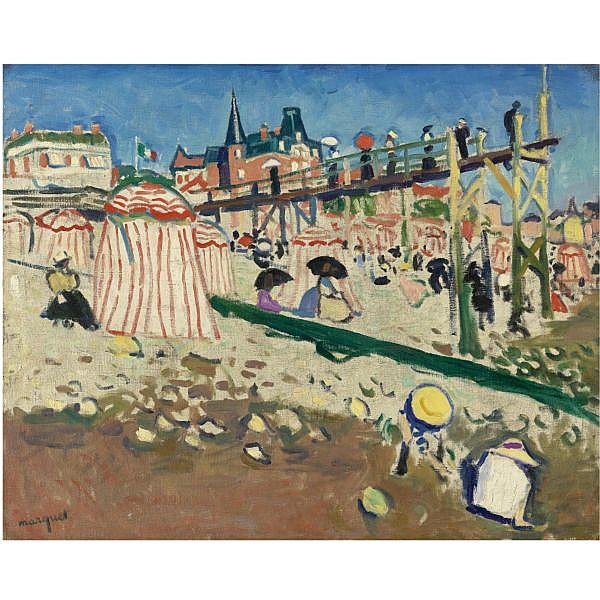 - Albert Marquet , 1875-1947 LA PLAGE DE SAINTE-ADRESSE oil on canvas