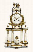 A LOUIS XV-STYLE GILT-MOUNTED WHITE MARBLE MANTEL CLOCK, FRENCH, CIRCA 1890  