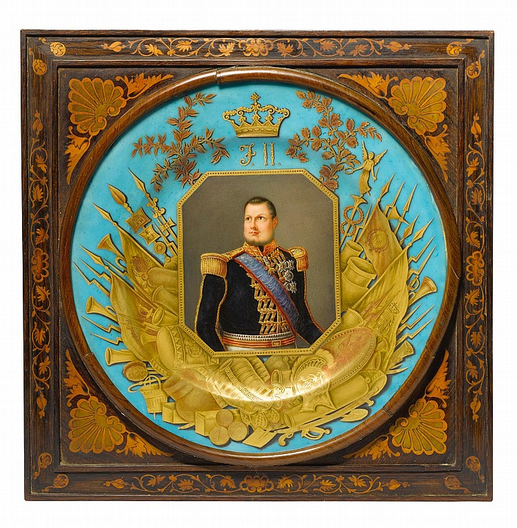 A FRAMED NAPLES DECORATED ROYAL COMMEMORATIVE CABINET PLATE, DATED 1849 |