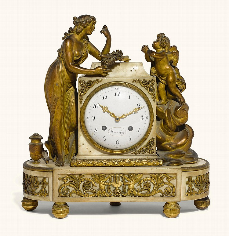 A GILT-BRONZE AND WHITE MARBLE QUARTER STRIKING MANTEL CLOCK, MEURON, SWISS, CIRCA 1795 |