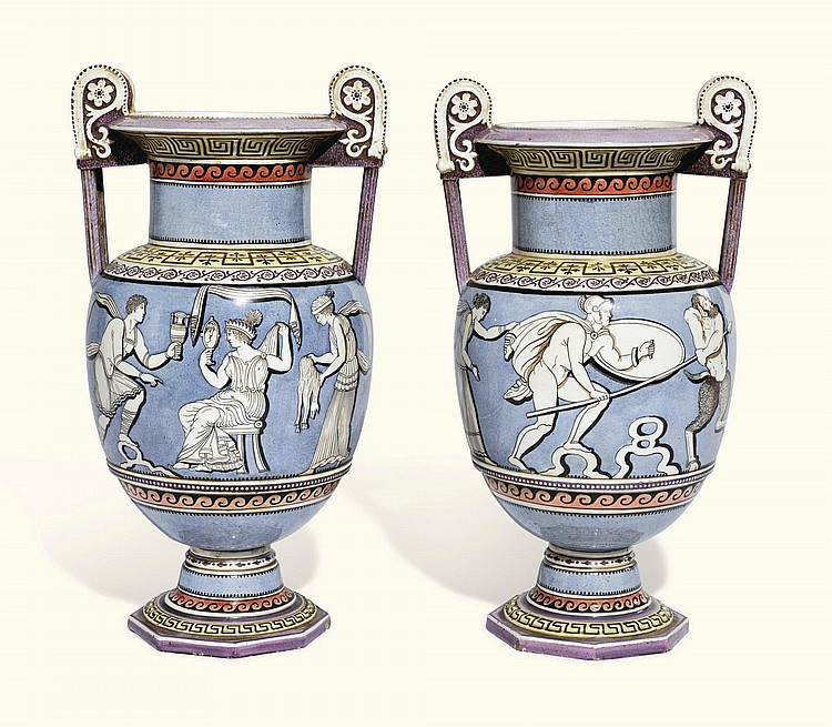 A PAIR OF CONTINENTAL EARTHENWARE VASES, PROBABLY NEAPOLITAN, 19TH CENTURY |