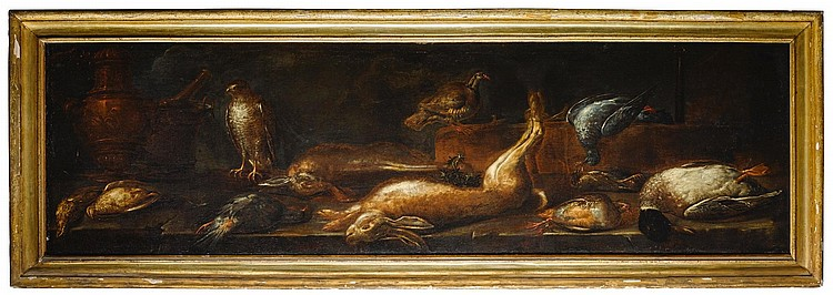 CIRCLE OF BALDASSARE DE CARO | A still life of game on a stone surface