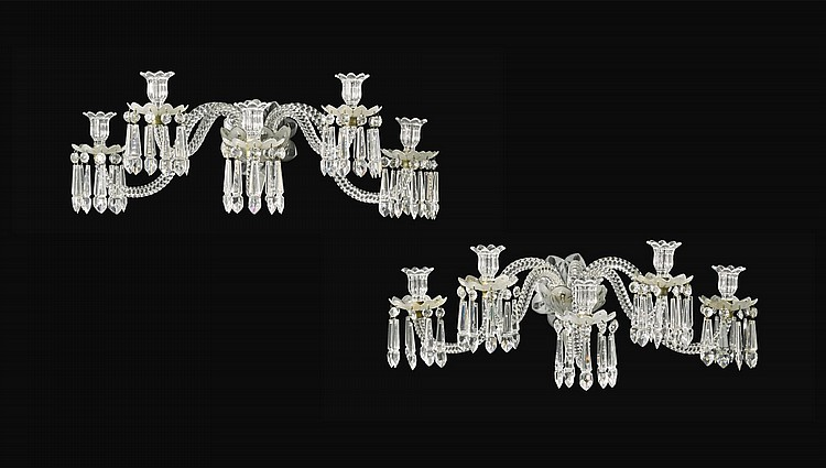 A PAIR OF FRENCH CUT AND MOULDED GLASS FIVE LIGHT WALL LIGHTS BY BACCARAT, CIRCA 1883 |