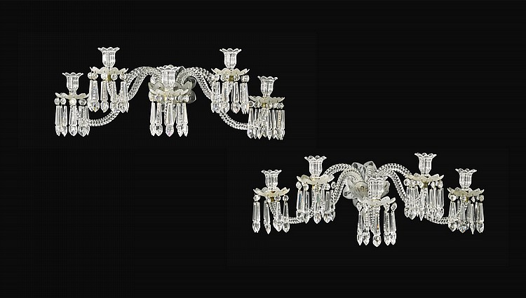 A PAIR FRENCH OF CUT AND MOULDED GLASS FIVE LIGHT WALL LIGHTS BY BACCARAT, CIRCA 1883 |