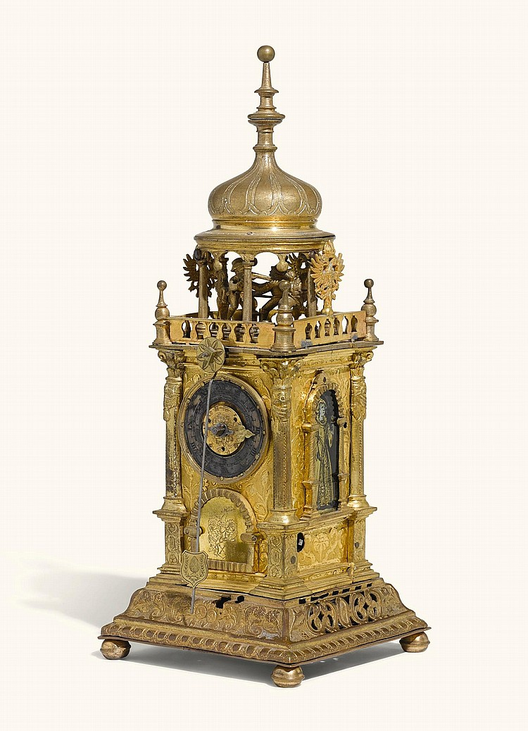 A RENAISSANCE GILT-COPPER TURMCHENUHR WITH AUTOMATON AND ALARM, POSSIBLY JOSEPH MOTTE, AUGSBURG, CIRCA 1630 AND LATER |