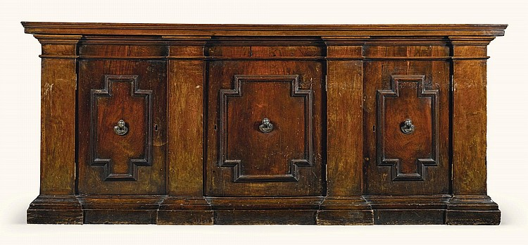 AN ITALIAN WALNUT CREDENZA 17TH CENTURY AND LATER |
