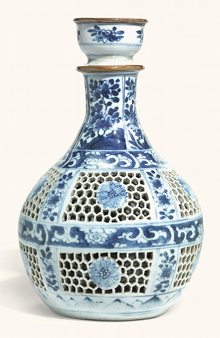 A CHINESE BLUE AND WHITE RETICULATED HOOKAH BASE<BR>QING DYNASTY, KANGXI PERIOD |