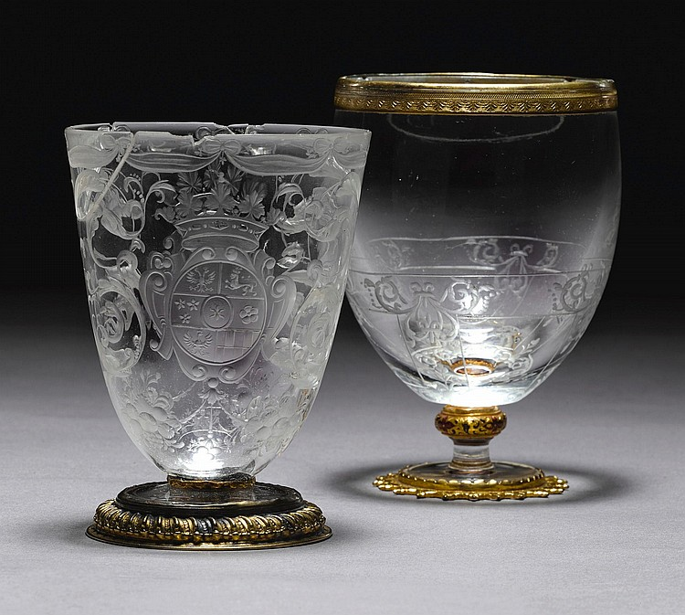 A BOHEMIAN OR SILESIAN ARMORIAL SILVER-MOUNTED GLASS, 18TH CENTURY |