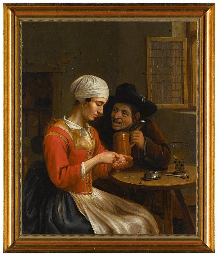 BALTHASAR PRINS | A couple in a tavern interior, playing 'stuiver schuiven'