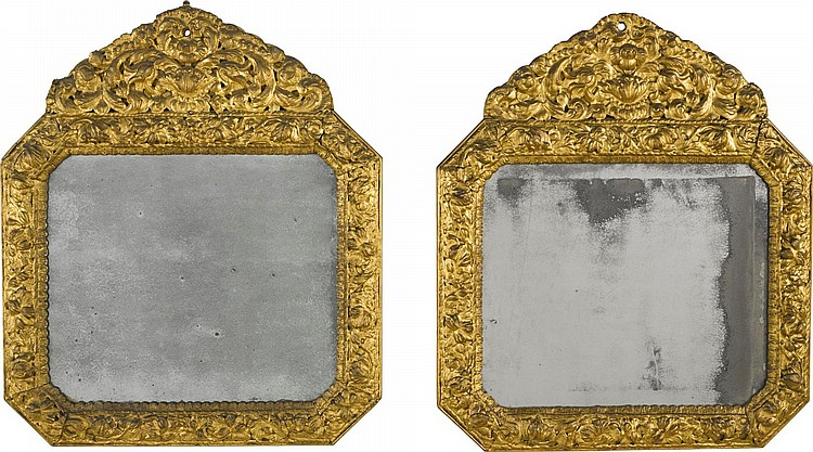 A PAIR OF QUEEN ANNE GILT-GESSO MIRRORS, CIRCA 1710, IN THE MANNER OF GERRIT JENSEN |