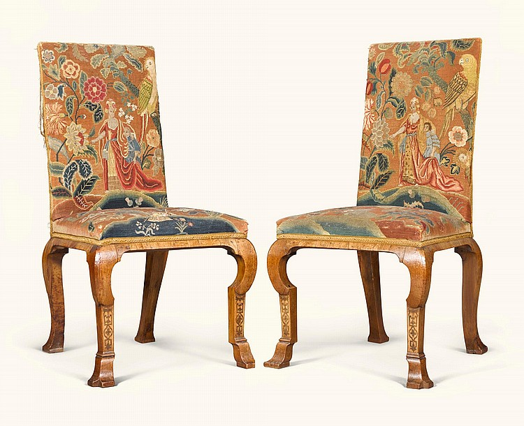 A PAIR OF QUEEN ANNE WALNUT AND MARQUETRY SIDE CHAIRS, CIRCA 1705, ATTRIBUTED TO THOMAS OR RICHARD ROBERTS |