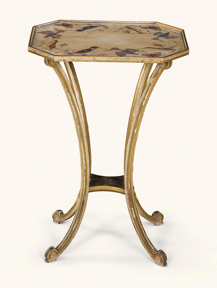 A GEORGE III GILTWOOD AND PAINTED OCCASIONAL TABLE, CIRCA 1800 |