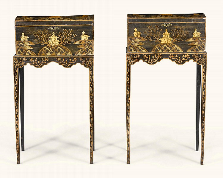 A PAIR OF REGENCY BLACK AND GILT JAPANNED CASKETS ON STANDS, CIRCA 1815 |