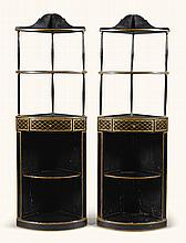 A PAIR OF REGENCY BLACK AND GILT-JAPANNED CORNER ÉTAGERES, EARLY 19TH CENTURY |