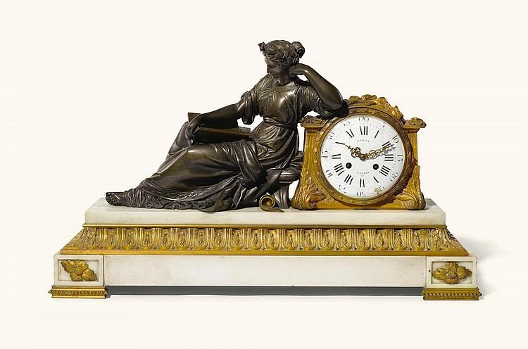 A LOUIS XVI-STYLE GILT-BRONZE AND WHITE MARBLE MANTEL CLOCK, CIRCA 1870, |