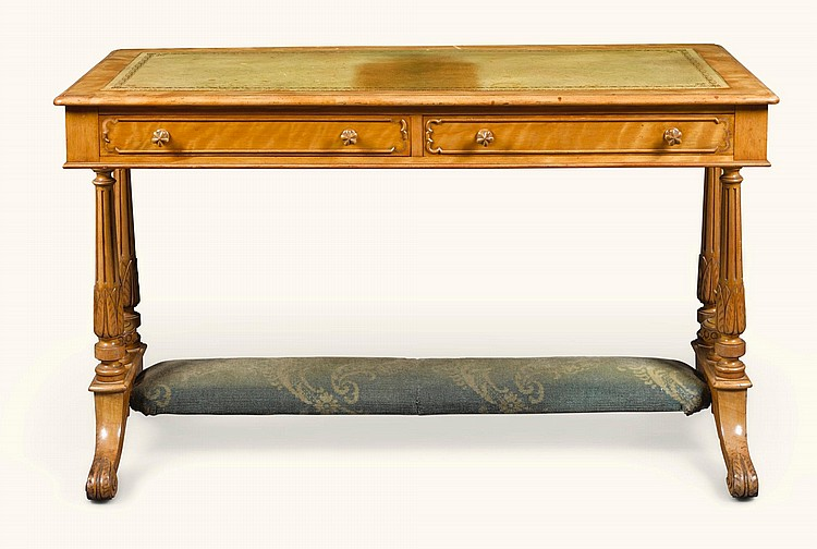A VICTORIAN SATIN BIRCH WRITING TABLE CIRCA 1870, BY BERTRAM |