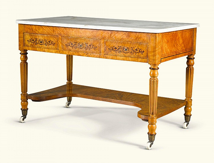 A LOUIS-PHILIPPE BURR MAPLE, MAHOGANY AND ROSEWOOD INLAID WASHSTAND CIRCA 1835 |