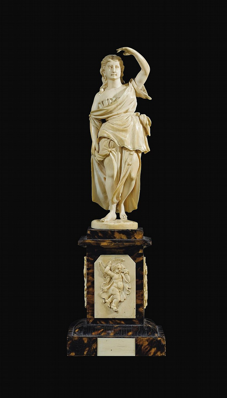 AN IVORY ALLEGORICAL FIGURE, POSSIBLY OF VICTORY, GERMAN OR FRENCH, 19TH CENTURY | An ivory allegorical figure, possibly of Victory, German or French, 19th century