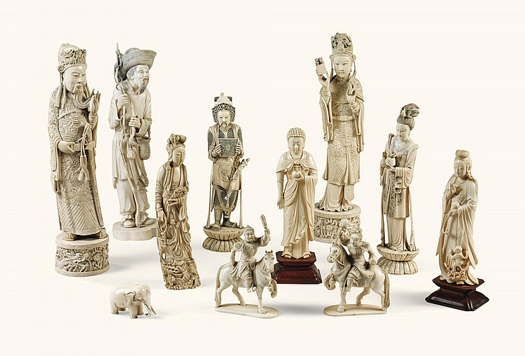 A GROUP OF TWENTY CARVED AND PAINTED IVORY FIGURES CHINA, EARLY 20TH CENTURY |