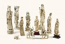 A GROUP OF TWENTY CARVED AND PAINTED IVORY FIGURES  CHINA,EARLY 20TH CENTURY |