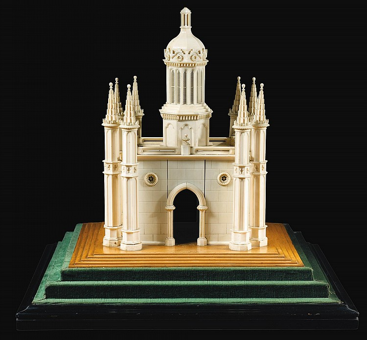 AN IVORY MODEL OF AN INDIAN TEMPLE, PROBABLY ENGLISH, LATE 19TH CENTURY   An ivory model of an Indian temple, probably English, late 19th century