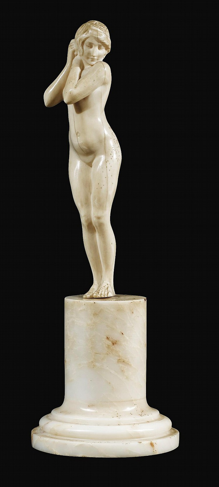 AN IVORY FIGURE OF A YOUNG STANDING BATHER, LOUIS SOSSON, CIRCA 1900 | An ivory figure of a young standing bather, Louis Sosson, circa 1900