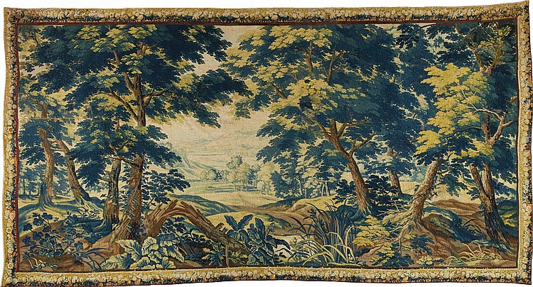 A FLEMISH LANDSCAPE TAPESTRY, PROBABLY OUDENAARDE LAST QUARTER 17TH CENTURY |