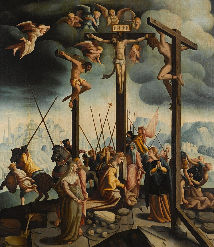 FOLLOWER OF JAN VAN SCOREL | Calvary with the three crosses