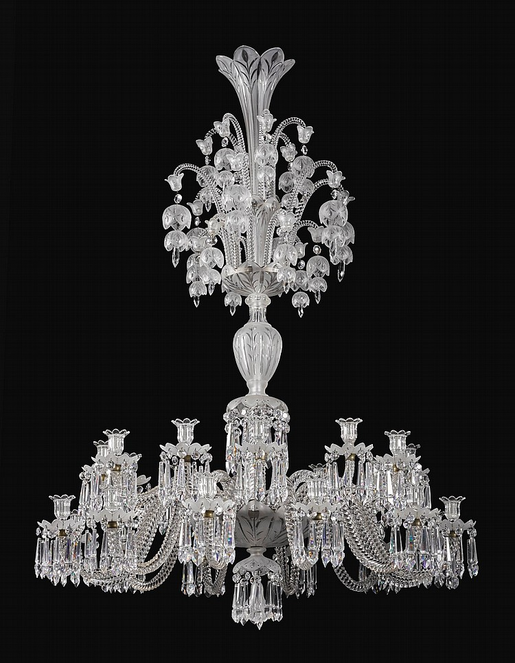 A FRENCH CUT AND MOULDED GLASS TWENTY-FOUR LIGHT CHANDELIER BY BACCARAT, CIRCA 1883 |