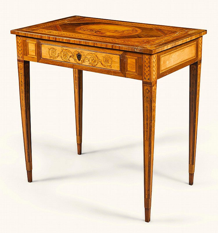 AN ITALIAN NEOCLASSICAL ROSEWOOD, SATINWOOD AND FRUITWOOD MARQUETRY CENTRE TABLE, LOMBARDY CIRCA 1800 |