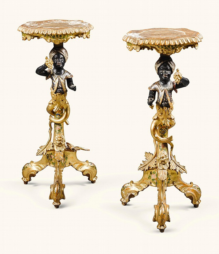 A PAIR OF VENETIAN STYLE CARVED GILTWOOD AND POLYCHROME PAINTED GUÉRIDONS A TRESPOLO 19TH CENTURY |