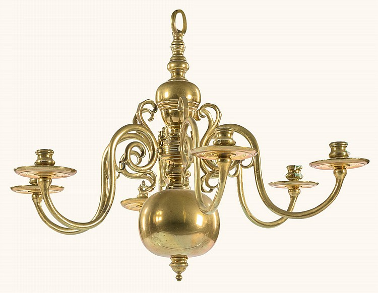 A DUTCH BAROQUE SIX-ARM BRASS CHANDELIER 17TH CENTURY |